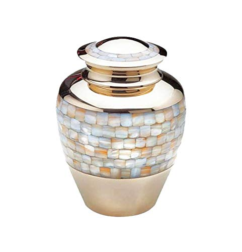 Adult Cremation Urns for Human Ashes Large Size Funeral Keepsake Jars with Lid Urns Handcrafted 10.4 Inch Gold MOP in Brass