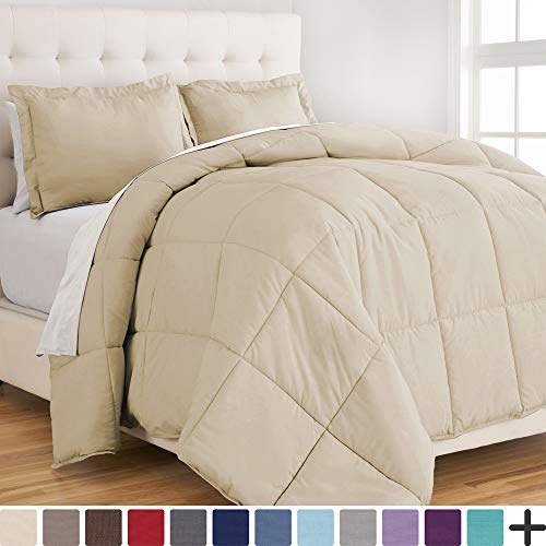 Bare Home Ultra-Soft Premium 1800 Series Goose Down Alternative Comforter Set - Hypoallergenic - All Season - Plush Siliconized Fiberfill (Full/Queen, Sand) (Comforter Beige Set)