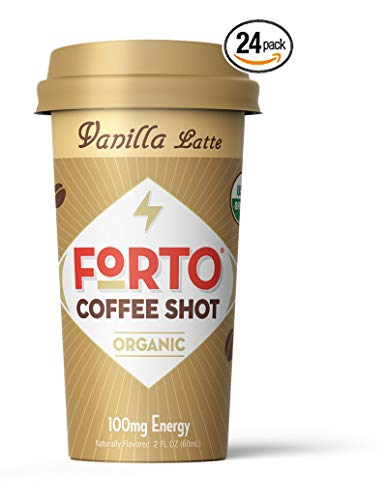 FORTO Coffee Shots - 100mg Caffeine, Vanilla Latte, Colombian cold brew in a ready-to-drink 2-ounce shot for a fast coffee energy boost, 24 Pack