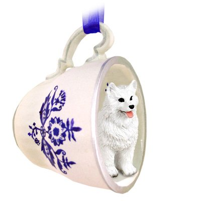 - American Eskimo Tea Cup Blue Ornament