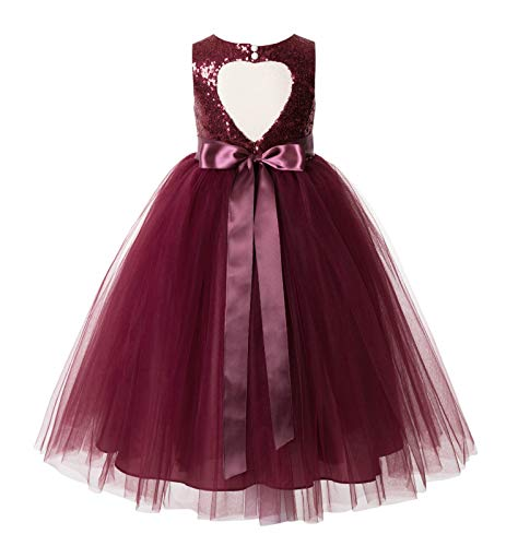ekidsbridal Heart Cutout Sequin Formal Flower Girl Dress Toddler Girl Dresses 172seq 6 Burgundy ()