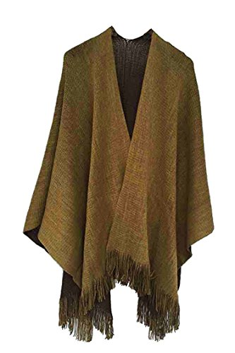 Mitario Femiego Women's Winter Solid Knitted Cashmere Poncho Capes Shawl Sweater Coat Brown