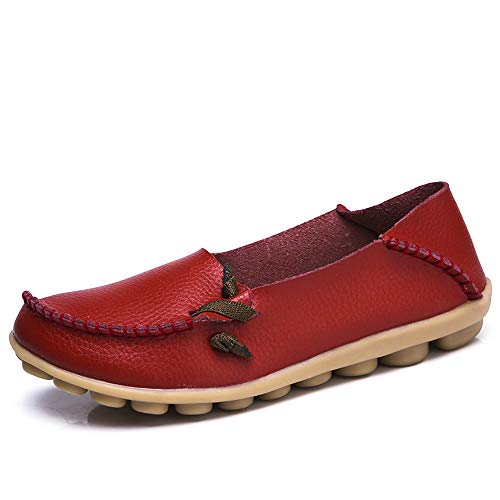 Lucksender Womens Soft Leather Comfort Driving Loafers Shoes Red