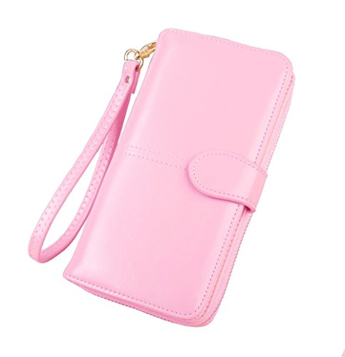 apacity Wallet,Multi Card Wallet,Cell Phone Wallet,Leather Women Wallet (Light Pink) ()