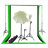 CowboyStudio Complete Photography/Video Studio Triple Light Kit with Lighing Kit, Background Support System and Black, White and Green Muslin Backgrops