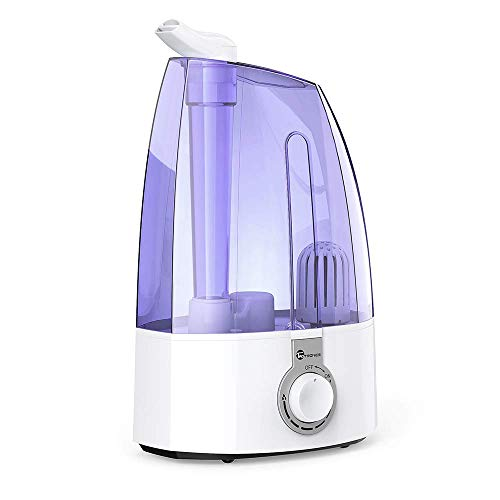 TaoTronics 3.5L Cool Mist Humidifiers for Home Baby Bedroom with Filter, Two 360° Rotatable Nozzles, Classic Dial Knob Control - Purple, US 110V