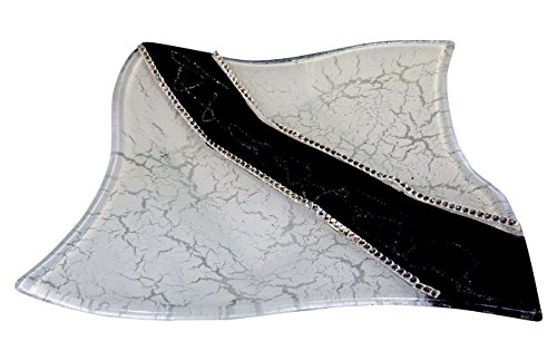 Murano Art Deco Glass Dish, Silver & Black, Square, Gemstones, With Gift (Murano Gem)