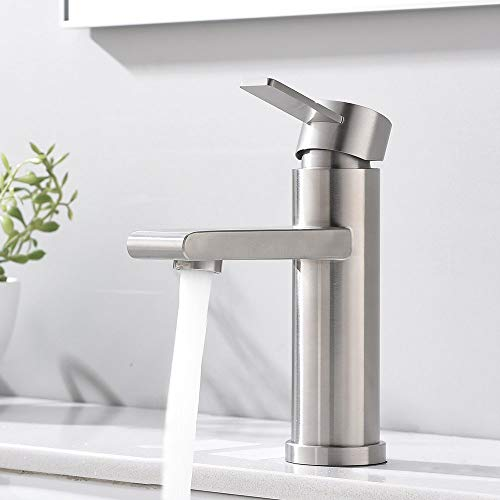 "VCCUCINE Modern Commercial Brushed Nickel Single Handle Bathroom Faucet, Laundry Vanity Sink Faucet With Two 3/8"" Hoses"