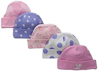 Gerber Baby-Girls Cap, Leopard, 0-6 Months (Pack of 5)