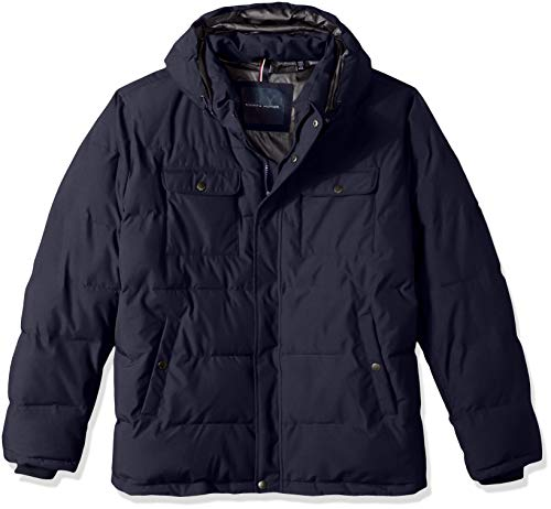Tommy Hilfiger Mens Nylon Two Pocket Hooded Puffer Jacket
