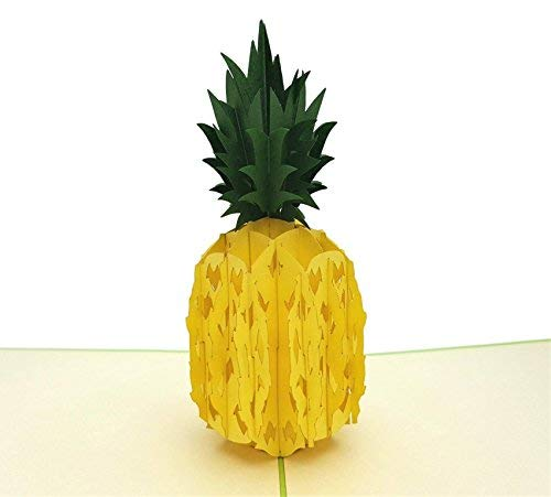 iGifts and Cards Hawaiian Pineapple 3D Pop up Greeting Card - Fruit, Yellow, Sweet, Tropical, Green, Health, Hawaii, Half-Fold, Get Well, Just Because, Love, Special Days, Thank You, Happy Birthday