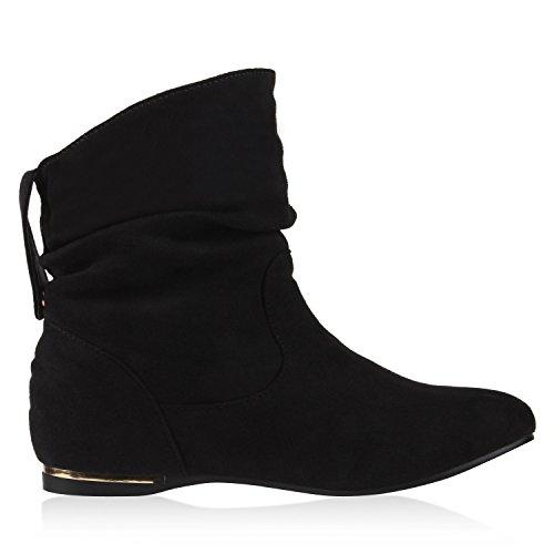 napoli-fashion Damen Stiefeletten Keilstiefeletten Gefütterte Stiefel Schlupfstiefel Wedges Wildleder-Optik Boots Keilabsatz Schuhe Jennika Schwarz