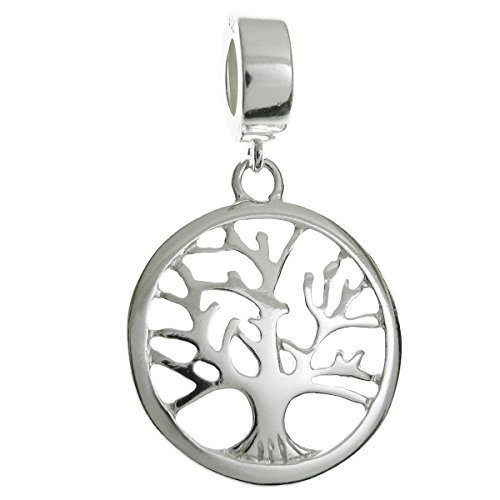 Sterling Silver Family Tree Of Life European Style Dangle Bead Charm by Queenberry