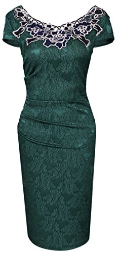 Pencil Sleeve Bodycon Womens Dress Green Ruched Short Cromoncent Workwear Lace g0xw6F4