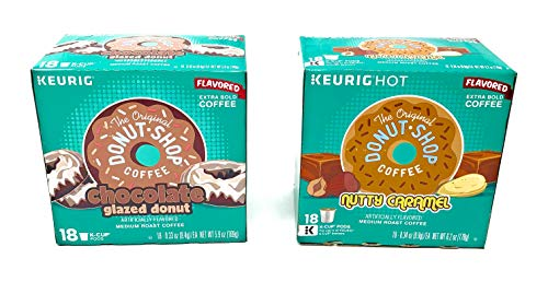 The Original Donut Shop K Cups Variety Pack - Chocolate Glazed Donut and Nutty Caramel - 36 K Cups Total - Medium Roast Flavored Coffee
