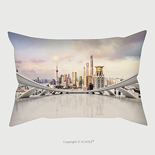 Custom Microfiber Pillowcase Protector Modern City Skyline Traffic And Cityscape In Shanghai China Futuristic Business Vision Concept 241840336 Pillow Case Covers Decorative price
