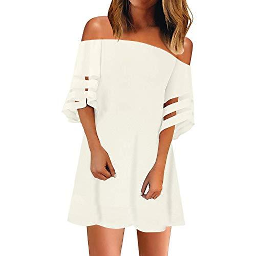 Women Summer Dress Chiffon Top, LONGDAY  Casual Plus Size V-Neck T-Shirt Off Shoulder Mesh Blouse Button Mini Dress