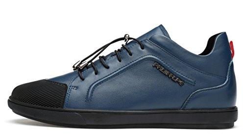 Tda Boys Mens Moda Cap Duo In Pelle Running Walking Sneakers Basse Sportive Scarpe Sportive Blu