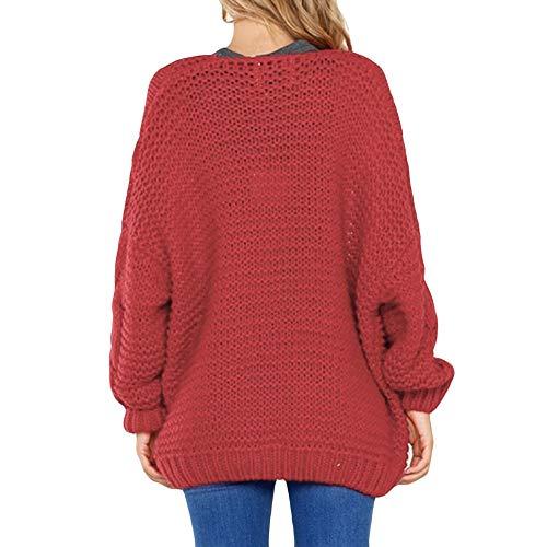 Rouge Unie Gris Shirt Automne Manches Couleur Sport Tricot Femme Pull Cardigan Longues Pullover NINGSANJIN Veste T wX6qZw7f