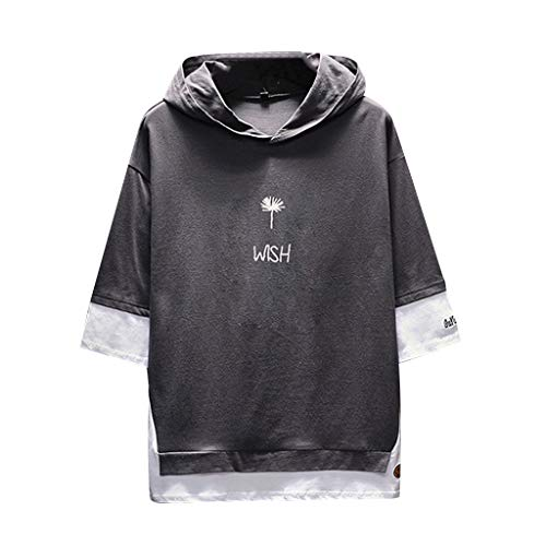 MIS1950s Short Sleeve Hoodies for Men, Casual Printing Scratch Half Sleeves T Shirts Spring Summer Sports Vest Tops