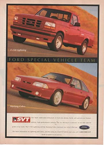 """Magazine Print Ad: 1993 Ford F-150 Lightning Pickup Truck and Mustang Cobra,""""Ford Special Vehicle Team (SVT)"""""""