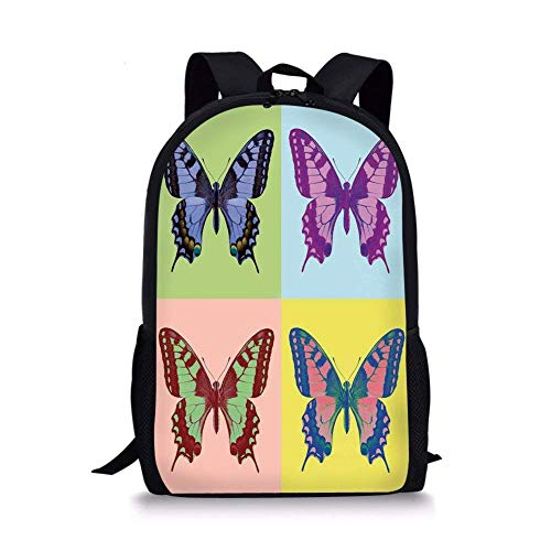 - School Bags Butterflies Decorations,Pop Art Swallowtail Pavilions Wild Life Transcendent Energies of Miraculous Wings,Multi for Boys&Girls Mens Sport Daypack