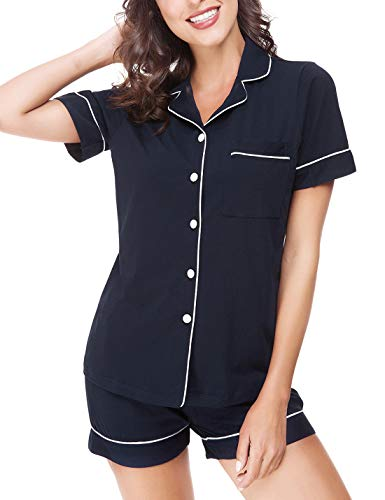 RIKILIO Women's Pajamas Shorts Set Cotton Button Down Shirts Loungewear PJS(Dark Blue,M)