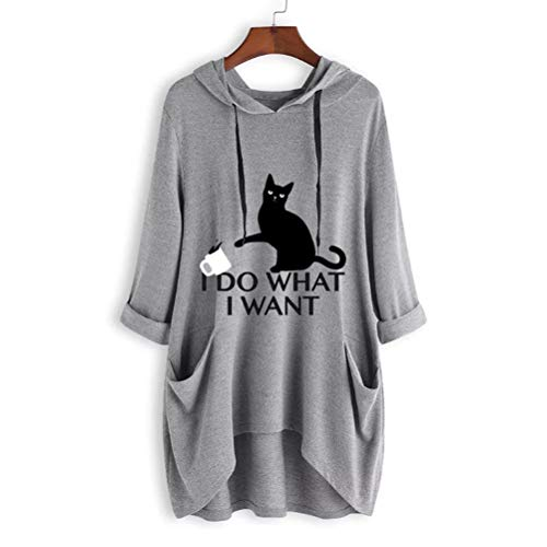 SMSCHHX I Do What I Want Cat Graphic Women Sweatshirt Long Sleeve Pullover Hoodies Tops for Girls Teens Gray ()