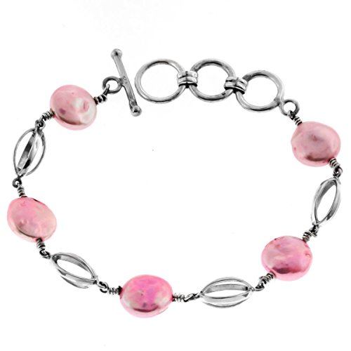 Pink Freshwater Coin Cultured Pearl 925 Sterling Silver Toggle Bracelet, 6 3/4