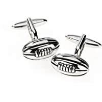 Quality Polished Stainless Steel Rugby Ball Cufflinks - The Perfect Gift For All Rugby Fans (CJ040)