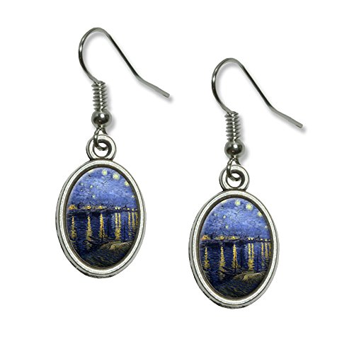 Starry Night Over the Rhone - Vincent Van Gogh Novelty Dangling Drop Oval Charm Earrings