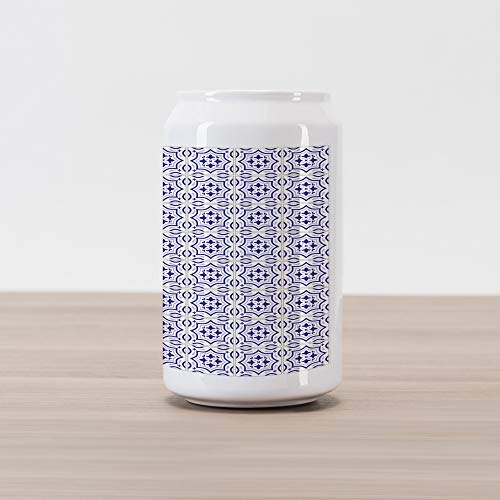 - Ambesonne Navy Blue Cola Can Shape Piggy Bank, Portuguese Tile Design Traditional Azulejo Retro Style Mosaic, Ceramic Cola Shaped Coin Box Money Bank for Cash Saving, Violet Blue Blue Grey Eggshell