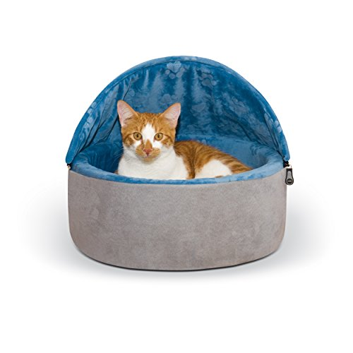 K&H Pet Products Self-Warming Kitty Bed Hooded Small Blue/Gray 16""