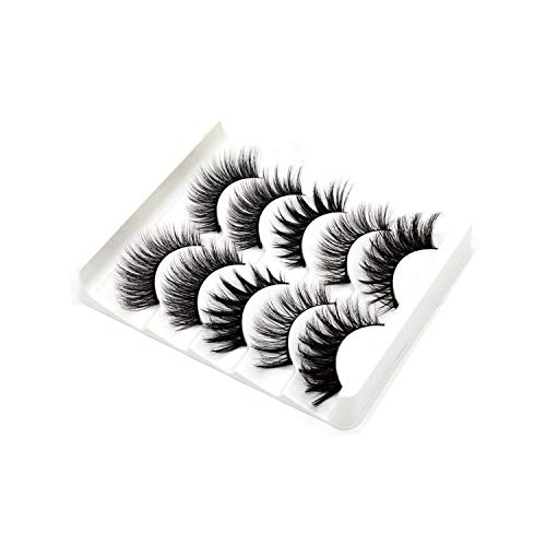 (5 pairs 3D mink lashes false eyelashes natural makeup eyelash extension long cross volume soft fake eye lashes winged faux cils,22)