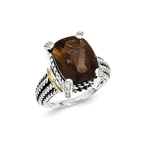 - 925 Sterling Silver 14k Smoky Quartz Diamond Band Ring Size 8.00 Stone Gemstone Fine Jewelry Gifts For Women For Her