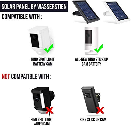 Wasserstein Solar Panel Compatible with Ring Spotlight Cam Battery & All-new Ring Stick Up Cam Battery - Power Your Ring Surveillance Camera continuously with 2W 5V Charging (2 Pack, White)