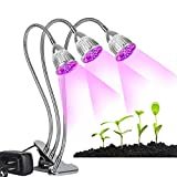 Plant Grow Light,LED Grow Light Triple Head 15W Desk Clip Lamp with 360 Degree Flexible Gooseneck Desktop Stand Lamp for Indoor Plants,Hydroponic Garden,Greenhouse,Gardening,Office by LEDMEI