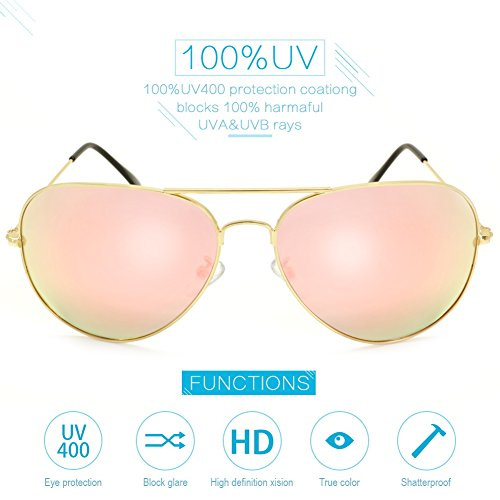 Aviator Polarized Sunglasses for Women Men by HMIAO,100% UV protection- UV 400 (Gold Frame, - Sunglasses Astigmatism