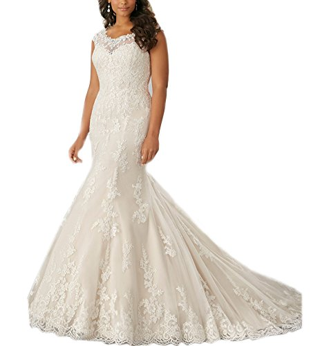 Beauty Bridal O Neck Cap Sleeves Mermaid Plus Size Wedding Dresses 2016(14,White)