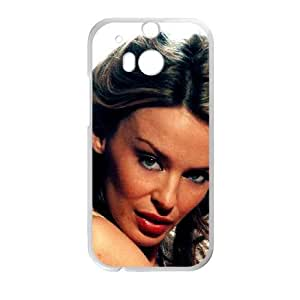 Funda de casos CELEBRITY KYLIE MINOGUE SINGER funda HTC uno M8 teléfono celular de cubierta blanca, fundas funda HTC uno M8 Funda blanco
