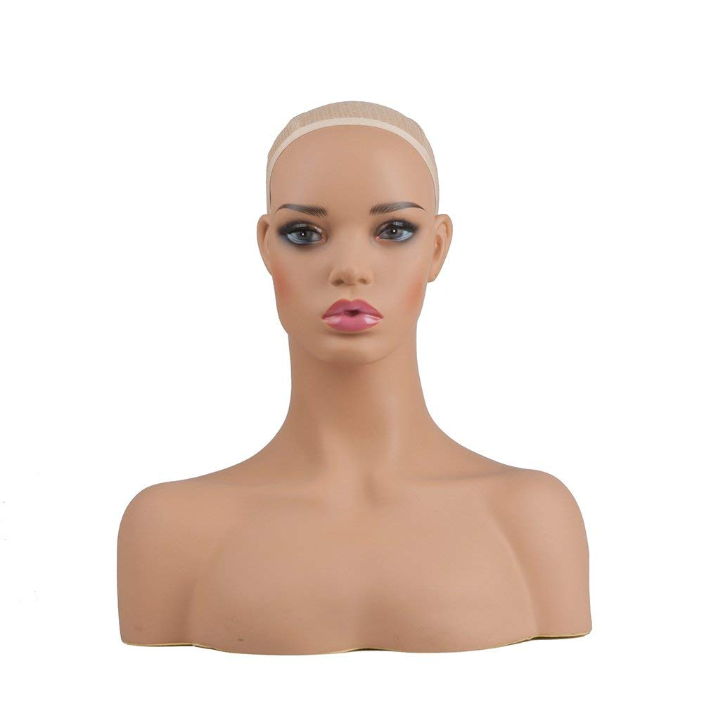 Female Mannequin Head Bust with Shoulders Phoenixfly PVC Realistic Women Human Size Mannequin Heads for Display Hair Wigs, Hats, Jewelry, Necklaces (Light Brown)