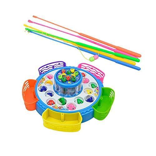 Tivollyff 釣り おもちゃ クリエイティブダブルレイヤー釣りゲームのおもちゃセット電子磁気回転釣りボード子供釣りゲームおもちゃ ランダム