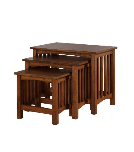 Furniture of America Liverpool 3-Piece Nesting Table Set, Antique Oak Finish Medium Nesting Table