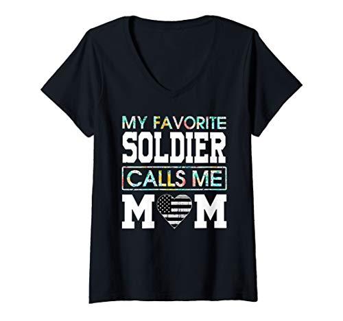 Womens My Favorite Soldier Calls Me Mom Army Veteran Shirt V-Neck T-Shirt ()
