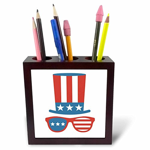 3dRose Xander inspirational quotes - Red White and blue Uncle Sam hat with sunglasses - 5 inch tile pen holder - Sam Sunglasses