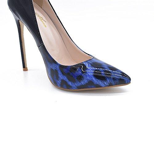 Genshuo Kvinner Mote Spiss Tå Leopard Trykte Pumper Høy Hæl Stilettos Sexy Slip På Sko Blå Gradient Leopard