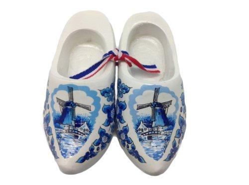 Essence of Europe Gifts E.H.G Decorative Wooden Shoe Clogs Dutch Landscape Design Blue and White - Dutch Shoe Blue
