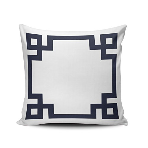 SALLEING Custom Fashion Home Decor Pillowcase Navy Blue and White Greek Key Border European Square Throw Pillow Cover Cushion Case 26x26 Inches One Sided Print (Pillow Shams Custom)
