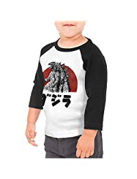 Kid's Toddler Godzilla Sol Japan 3/4 Sleeve Raglan Baseball Tee For 2-6T