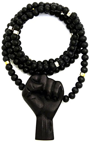 GWOOD Power Fistl Wood Pendant Necklace (Black/ 36 INCH Necklace with Gold Color Inserts) by GWOOD